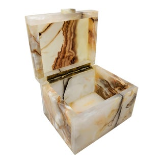 1970s Decor Inspired Organic Modern Onyx Box For Sale