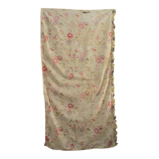 Antique French Faded Floral Small Curtain Panel C1900 Lovely Pink Purple Flowers For Sale