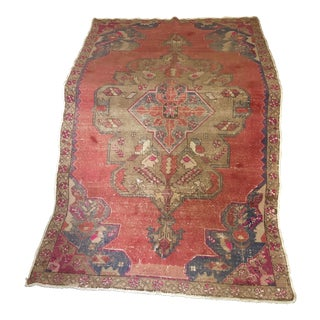 Classic Distressed Vintage Turkish Oushak - 4′6″ × 7′10″ For Sale