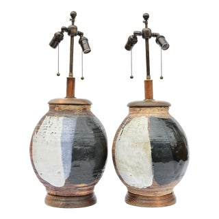 Pair of Multicolored Glazed Stoneware Table Lamps For Sale