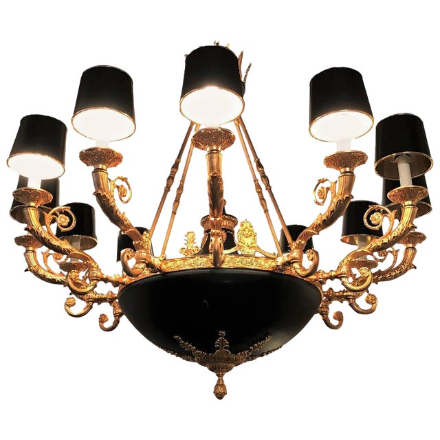Empire Style Bronze & Ebony Highlights 12-Arm Chandelier For Sale