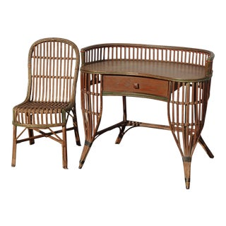 Vintage Mid Century Modern Bamboo Rattan Ficks Reed Writing Desk & Chair French For Sale
