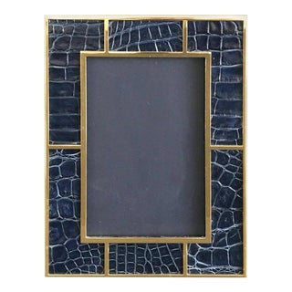 Crocodile Skin Gold-Plated Photo Frame by Fabio Ltd For Sale