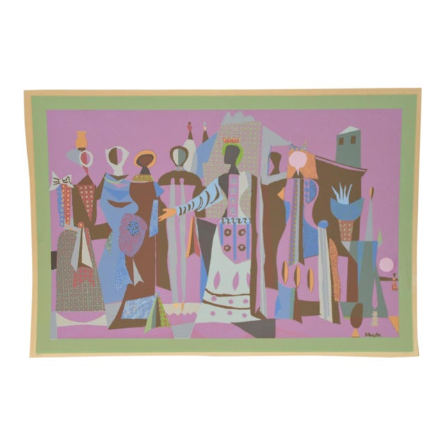 Mid Century Figural Abstract Lithograph by Jean Varda C.1950 For Sale
