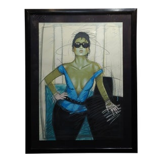 Dennis Mukai - Model W/Black Sunglasses- Original 1980s Serigraph -Signed For Sale