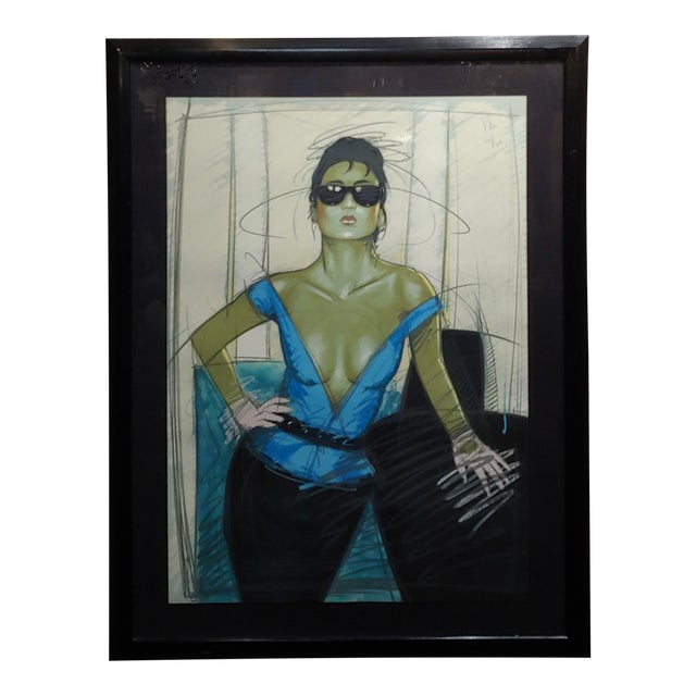 Dennis Mukai - Model W/Black Sunglasses- Original 1980s Serigraph -Signed For Sale