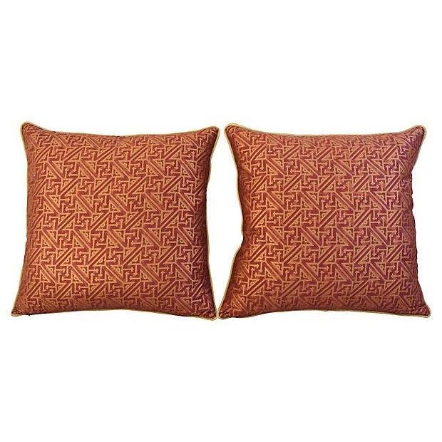 Custom Italian Mariano Fortuny Simboli Feather/Down Pillows - Pair - Image 10 of 10