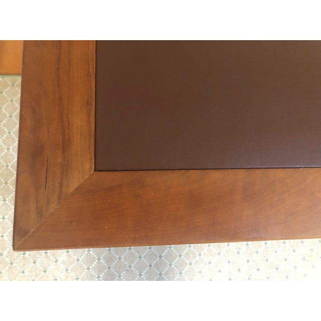 Arts & Crafts Mid Century Writing Desk With Leather Top For Sale - Image 3 of 8
