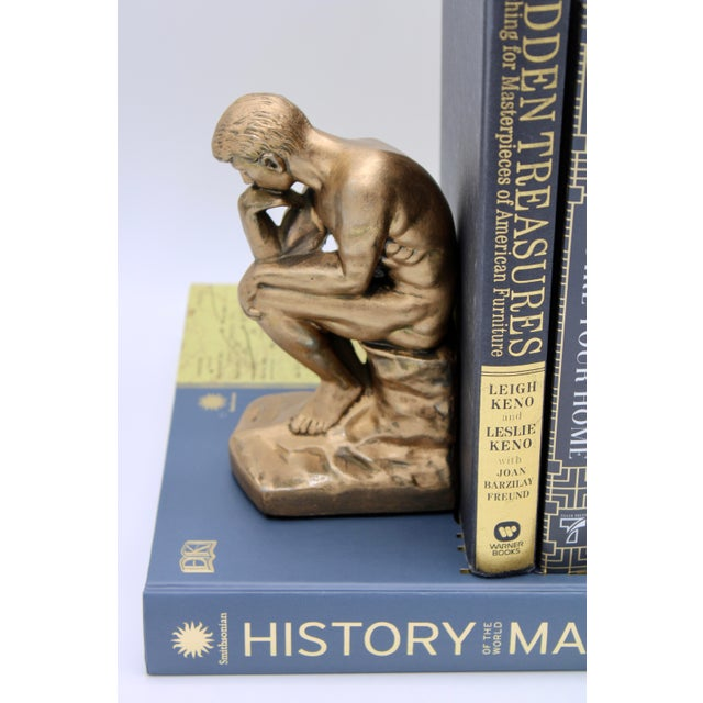 Gold 1928 Metallic Gold Thinking Man Bookends For Sale - Image 8 of 12