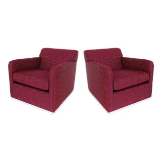 Mid-Century Modern Upholstered Club Chairs W/ Stainless Steel - a Pair For Sale