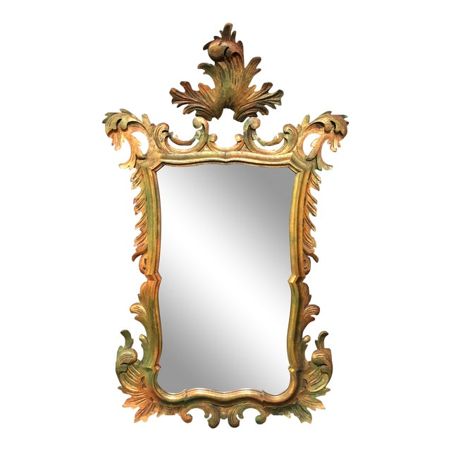 French Antique Gold Gilt Wood Carved Mirror For Sale