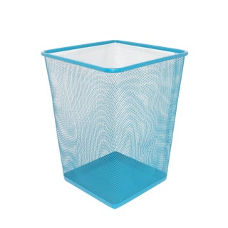 Mid-Century Modern Aqua Wire Metal Trash Can For Sale