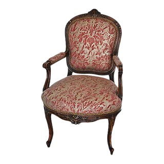 Antique Italian Carved Hardwood/Oak & Mariano Fortuny Lucrezia Fabric Armchair For Sale