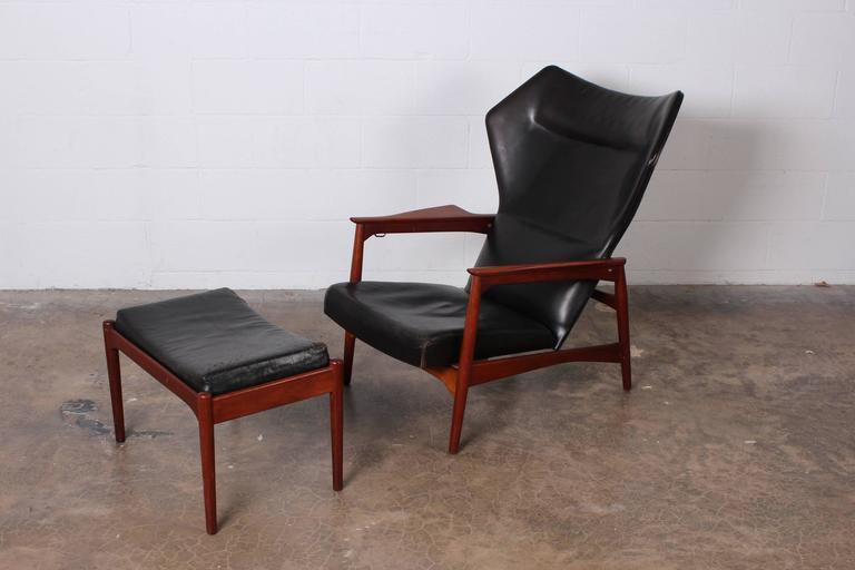 Adjustable Leather Lounge Chair And Ottoman By Ib Kofod Larsen   Image 2 Of  10