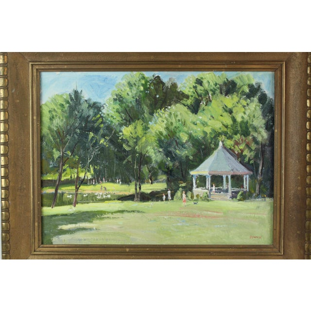 Vintage Mid Century Waterford Park Painting by Roger Dennis For Sale - Image 4 of 6