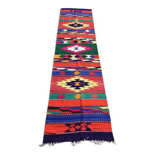 1970's Colorful Vintage Turkish Kilim Runner-2′1″ × 9′8″ For Sale