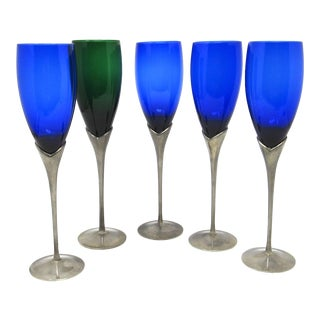 Vintage Glass Champagne Glasses in Steel Tulip Stems For Sale