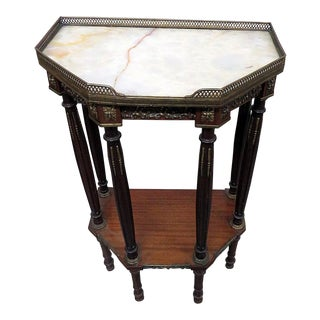 Antique Marble Top Accent Table For Sale