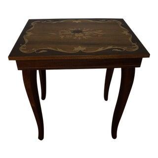 Italian Inlay Wood Table and Music Box