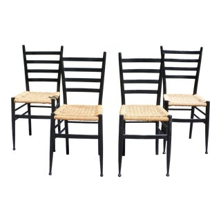 Vintage Set of 4 Mid Century Modern Gio Ponti Style Ladder Back Chairs Italy For Sale