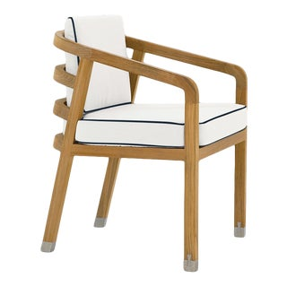Linley Dining Arm Chair in Nice White with Sundeck Blue Welt For Sale