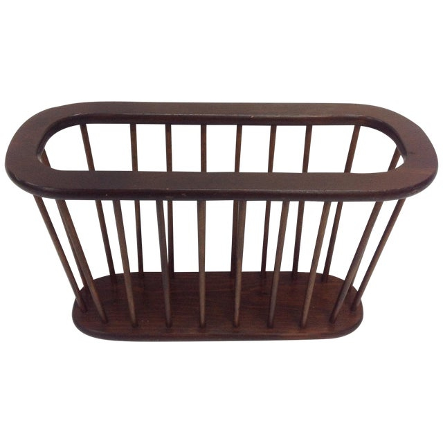 Arthur Umanoff Walnut Spindle Magazine Rack - Image 1 of 5