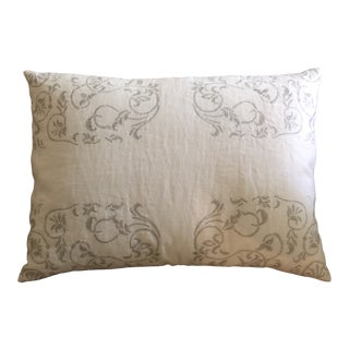 Vera Wang Embroidered Linen Lumbar Pillow For Sale