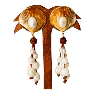 Pearl and Leather Shell Earrings For Sale