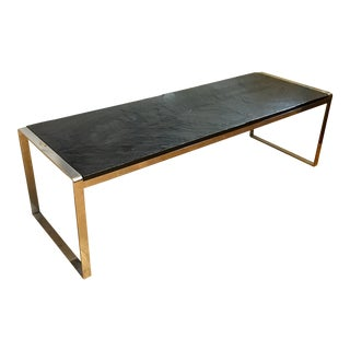 Mid Century Stainless Steel & Slate Bench For Sale