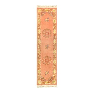 Pasargad Pink Fine Hand Knotted Chinese Peking Runner- 2'6'' X 10' For Sale