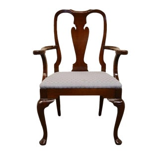 Late 20th Century Vintage Hickory Chair James River Mahogany Queen Anne Arm Chair For Sale