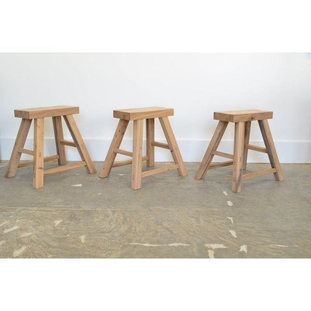 Benchmade by woodworkers in Arizona. Collection of six OZ|SHOP stools made from antique oak wood. (Custom sizes may be...