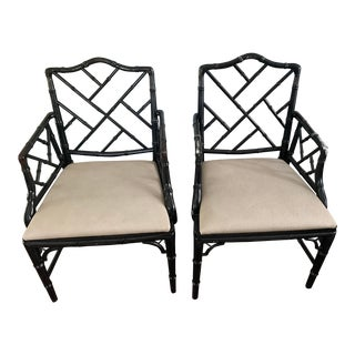 Classic Chippendale Faux Bamboo Regency Armchairs - a Pair For Sale
