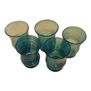 Blue Hand Blown Glasses - Set of 5 For Sale