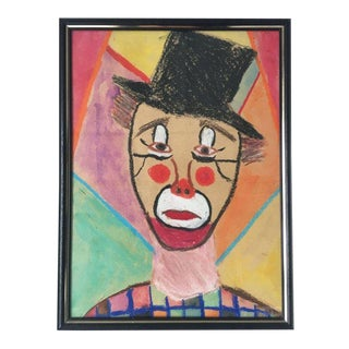 70's Sad Clown Drawing in Crayon For Sale