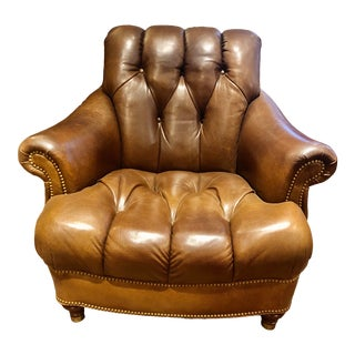Hancock and Moore Leather Tufted Writer's Chair For Sale
