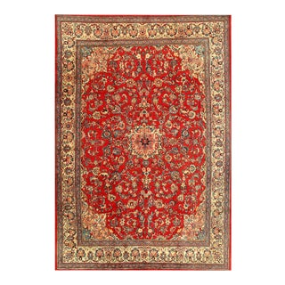 Red Persian Hand Knotted Fine Mahal 10'1'' X 13'9'' For Sale