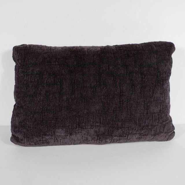 This gorgeous custom handmade rectangular pillow has been realized in a smoked amethyst hue in gaufraged velvet. It...