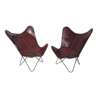 Pair of Metal and Leather Chairs For Sale
