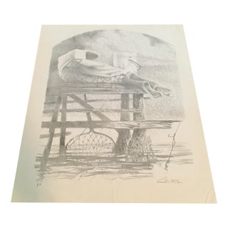 """Boy Fishing for Crab"" Litho by Charles Criner"