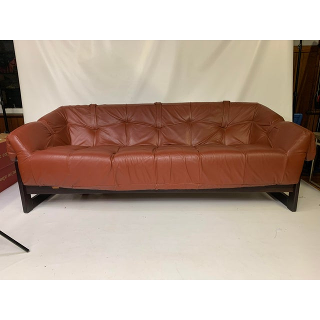 1950s Vintage Percival Lafer Brazilian Rosewood & Leather Sofa For Sale - Image 12 of 12