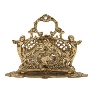 Art Nouveau Brass Cherubs Letter Holder Rack For Sale