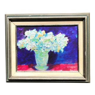 1980s Original Still Life Floral Framed Oil Painting For Sale