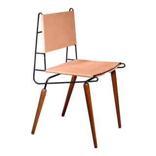 Allan Gould Minimalist Leather and Iron Chair, Usa, 1950s For Sale