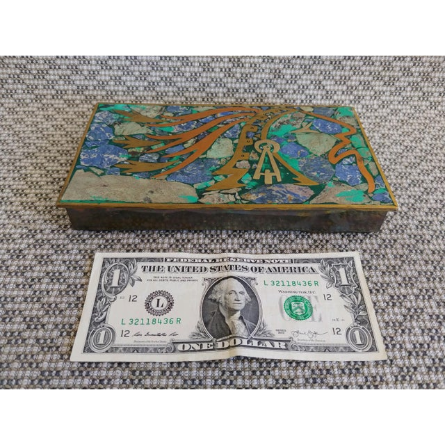 Mexican Vintage Brass and Stone Inlay Box Mayan Aztec Mexico For Sale - Image 3 of 10