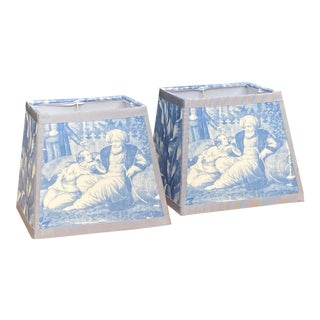 Blue and White Harem Toile Lampshades - a Pair For Sale