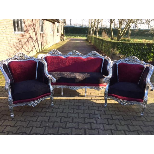 Red Red & BlackVelvet Baroque Sofa For Sale - Image 8 of 8
