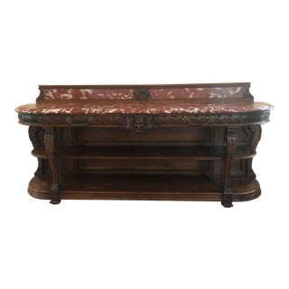 Antique English Carved Sideboard For Sale