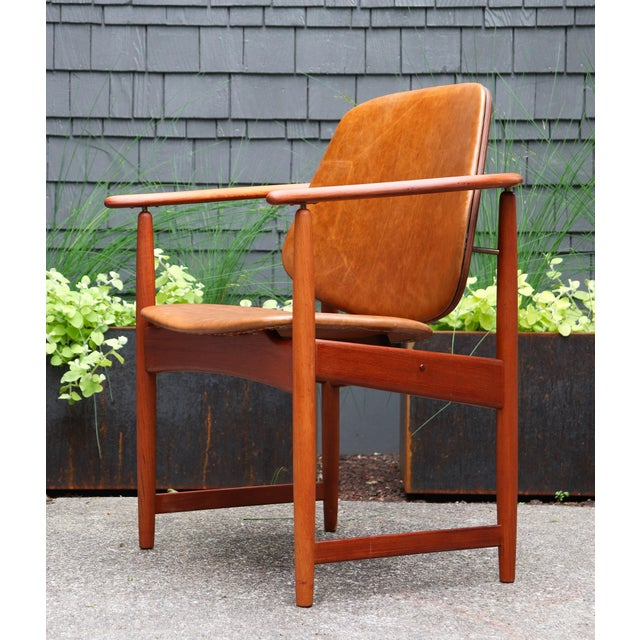 1960s Mid-Century Modern Arne Hovmand Olsen Teak Back Chair For Sale - Image 10 of 13