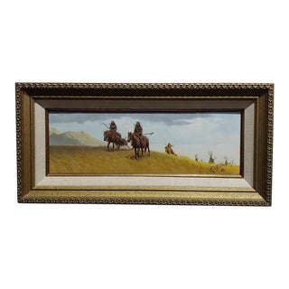Russ Vickers -Indians Leaving Camp on Horses-Oil Painting For Sale
